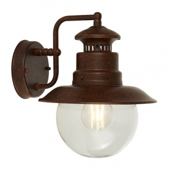 градински аплик station, rustic brown/clear, 1xE27, searchlight, 7652ru
