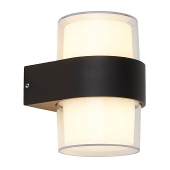 градински аплик, black/opal white/clear, led 6w, 3000k, 480lm, searchlight, 25123-2bk