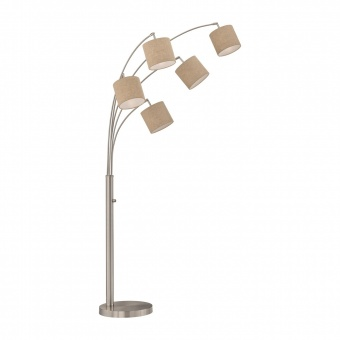 лампион annecy, nickel matt colored+linen sand shade, 5xE14, fischer&honsel, 40291