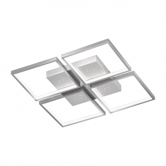 плафон pix, aluminium/chrome coloured, 4xled 11w, 3000k, 6100lm, fischer&honsel, 20114
