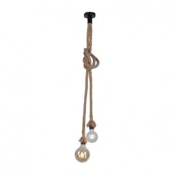пендел rope, brown/black, 2xE27, leuchtendirekt, 15482-18