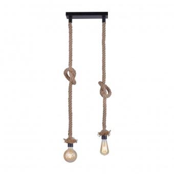 полилей rope, brown/black, 2xE27, leuchtendirekt, 15486-18