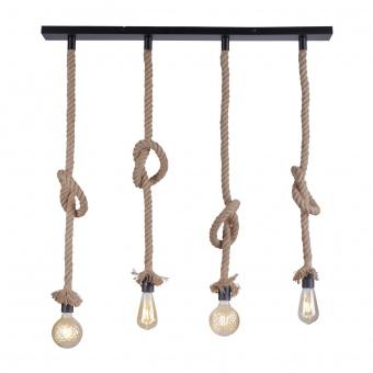 полилей rope, brown/black, 4xE27, leuchtendirekt, 15487-18