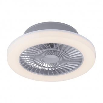 осветително тяло с вентилатор leonard, nickel matt, led 27w, 3000k, 1950lm, leuchtendirekt, 14645-55