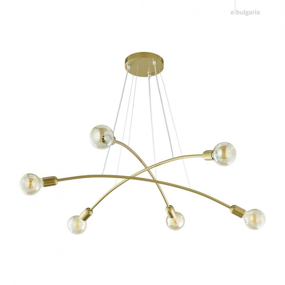 полилей helix gold, gold, 6xe27, tk lighting, 2728