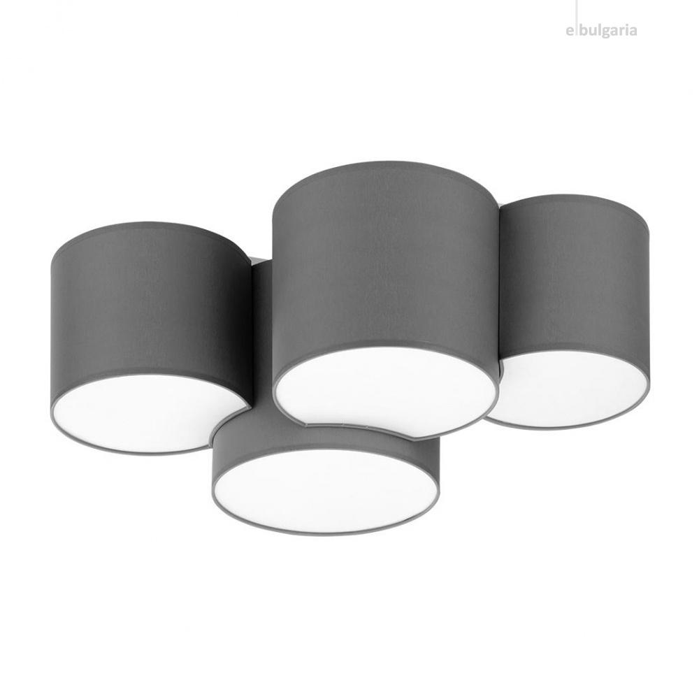 плафон mona gray, gray, 4xe27, tk lighting, 4393