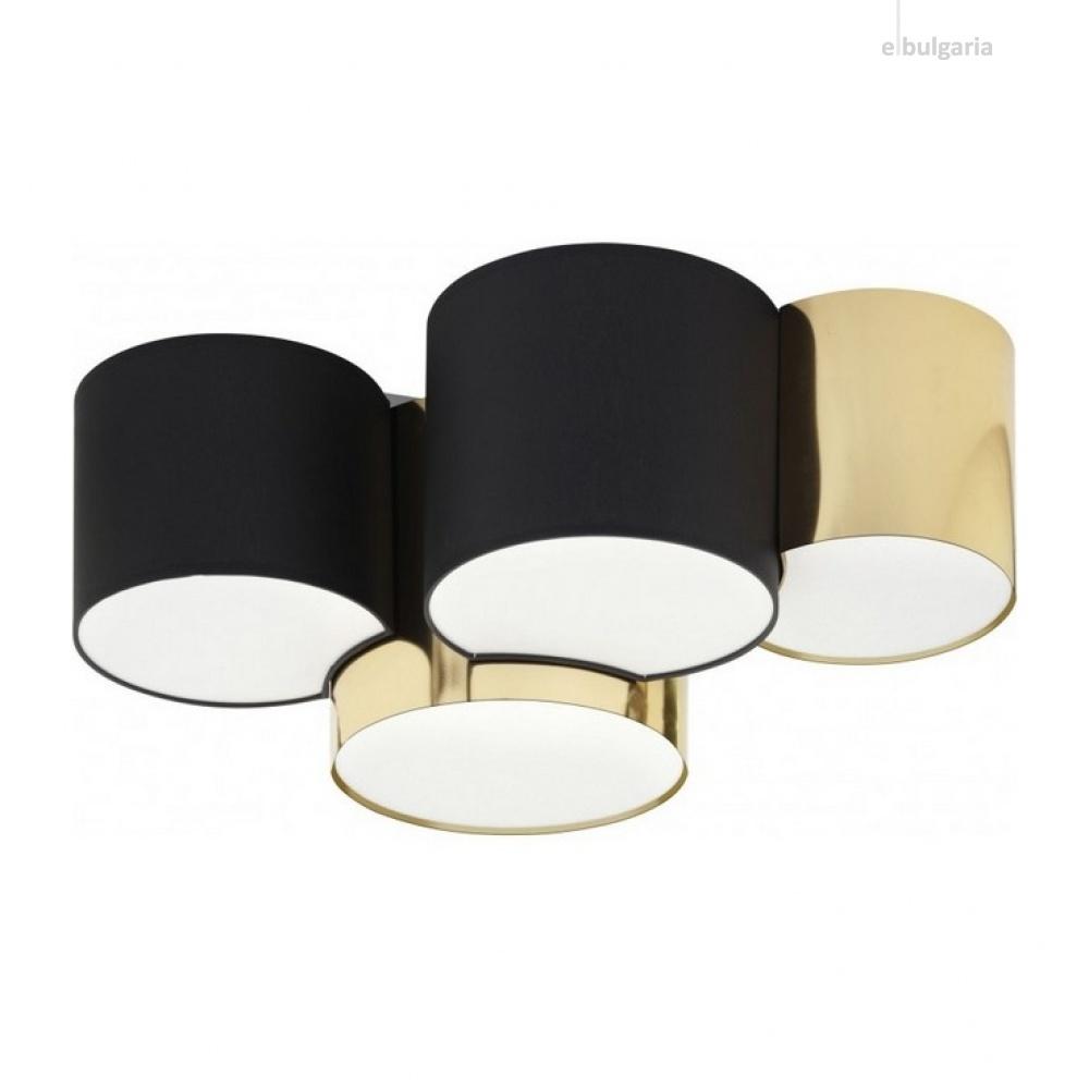 плафон monagold, black/gold, 4xe27, tk lighting, 3446