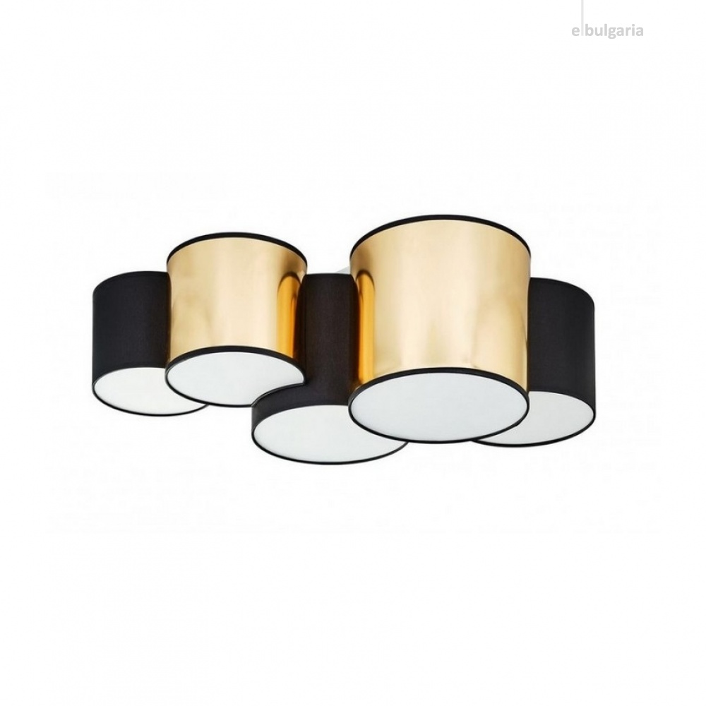плафон mona gold, black/gold, 5xe27, tk lighting, 3447