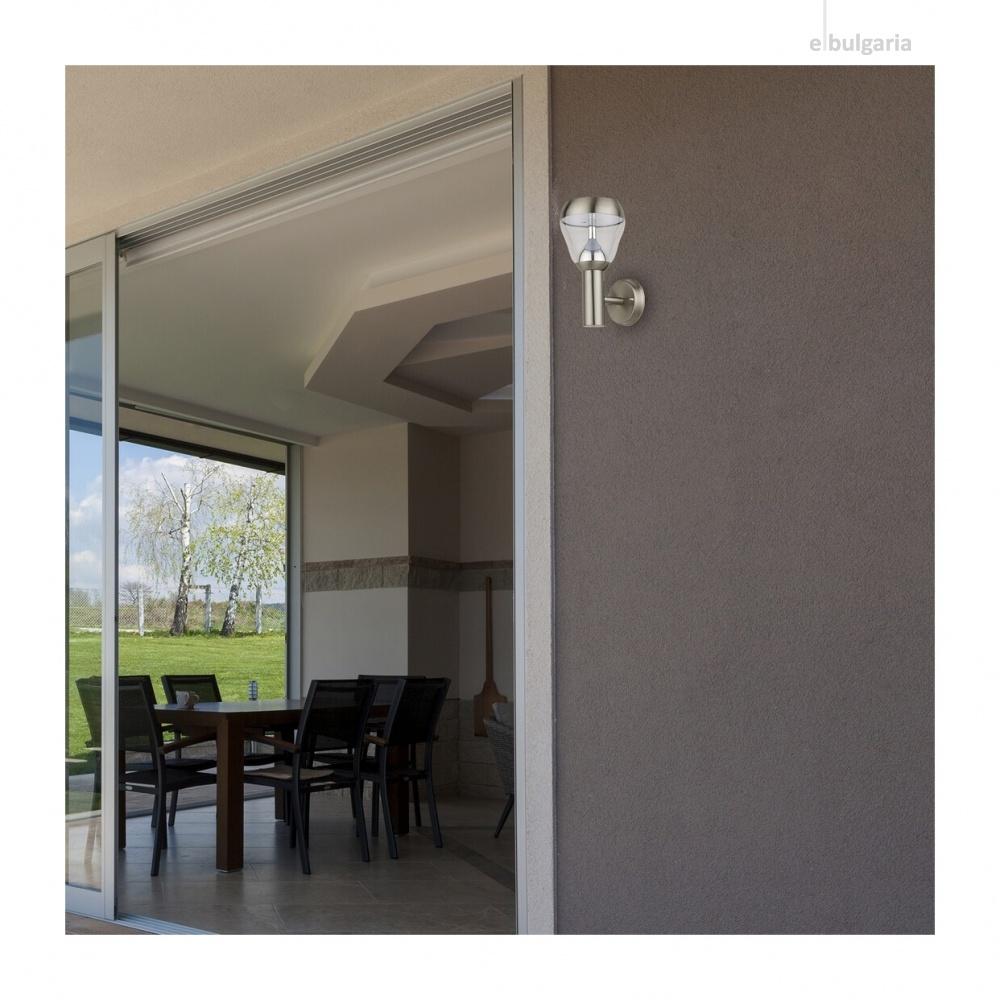 градински аплик amalfi, satin chrome/transparent, rabalux, led 8w, 4000k, 760lm, 7919