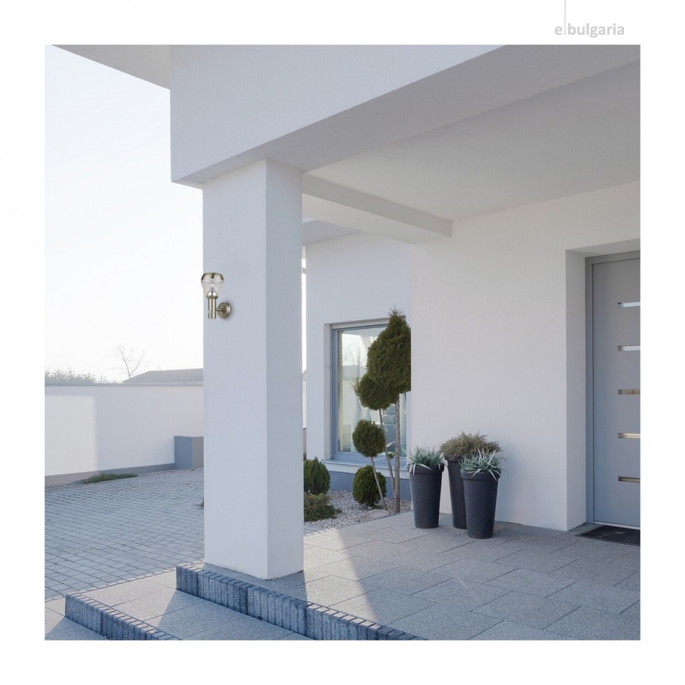 градински аплик amalfi, satin chrome/transparent, rabalux, led 8w, 4000k, 760lm, sensor, 1-8m, 90°, 7920