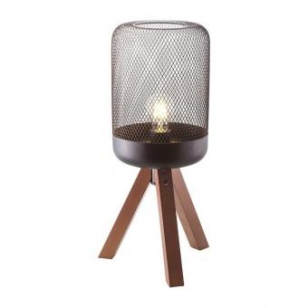 настолна лампа parot, matt black+natural, aca lighting, 1xE27, tf501t52bk