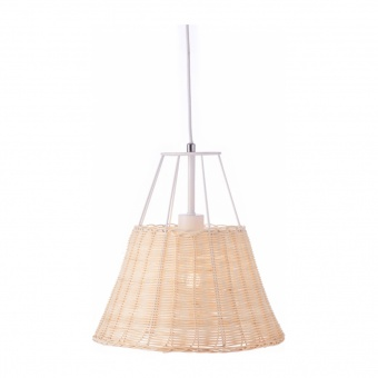 пендел zorbas, matt white+natural, aca lighting, 1xE27, gn60p130wh