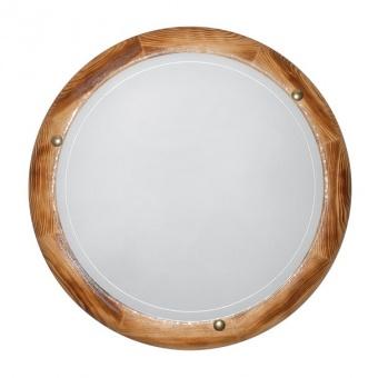 стъклен плафон, рустик, siriuslights, дърво кръг, 2x60w, 010309