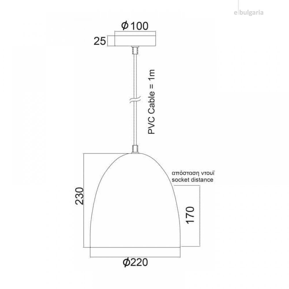 пендел othello, white, aca lighting, 1xE27, ks183222w