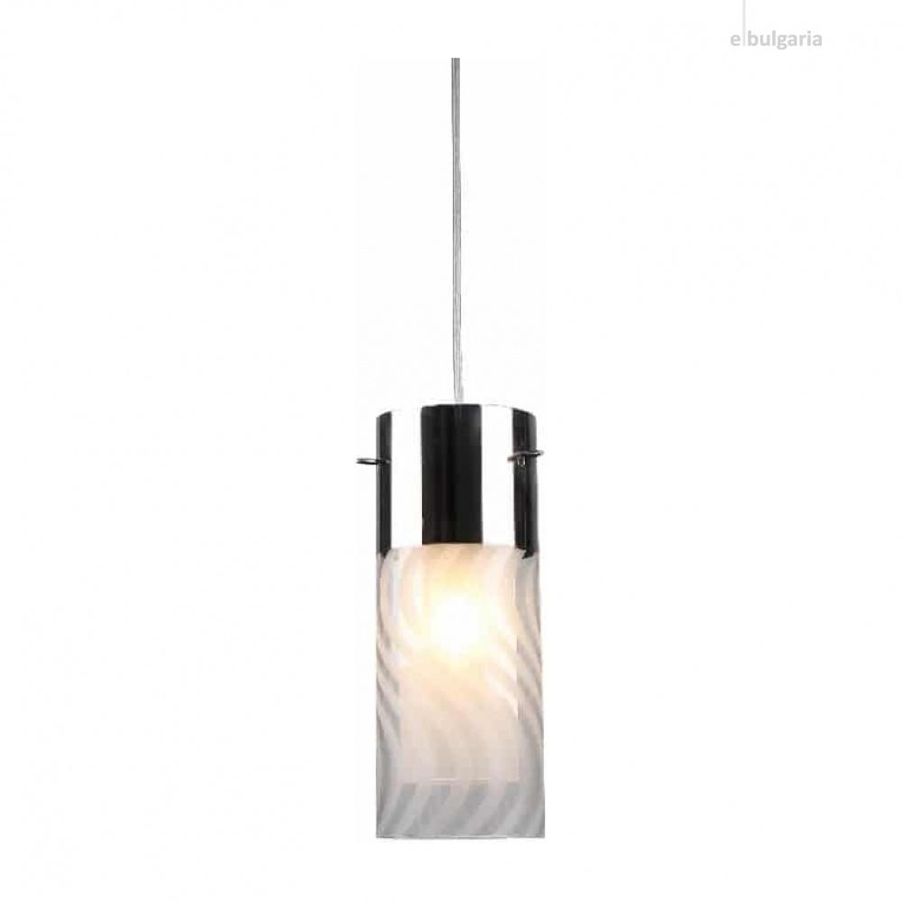 пендел dali, chrome+sandblast+clear, aca lighting, 1xE14, fw50501