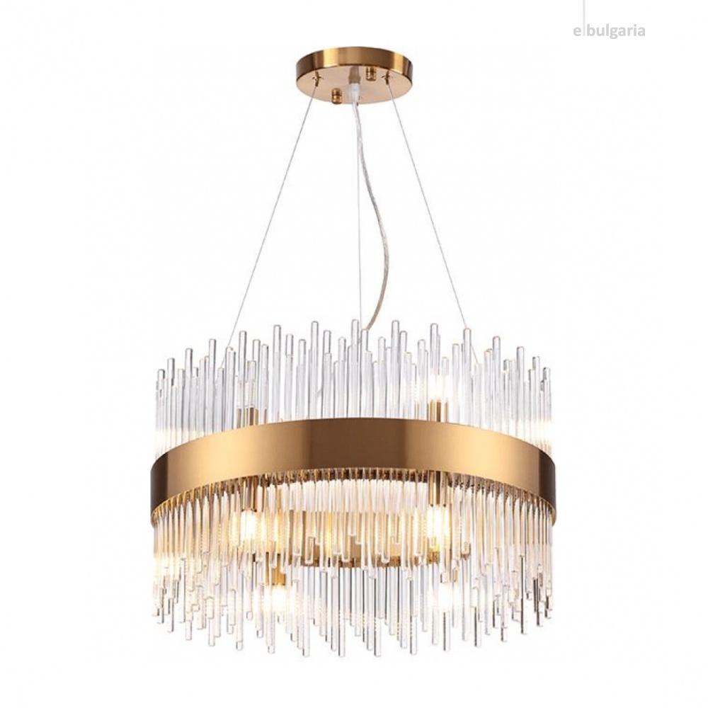 полилей dynasty, satin brass+clear, aca lighting, 12xG9, eg18412p50ab