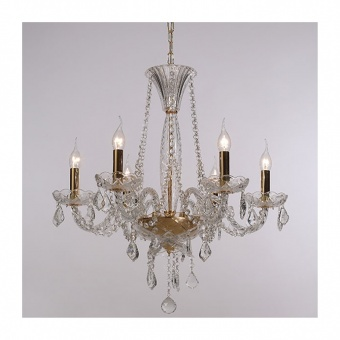 полилей lilium, polished gold+transparent+golg, aca lighting, 6xE14, blk80046pcg