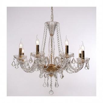 полилей lilium, polished gold+transparent+golg, aca lighting, 8xE14, blk80048pcg