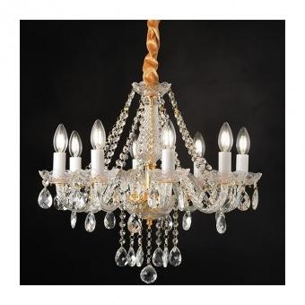 полилей gladiolo, polished gold+clear+gold, aca lighting, 8xE14, blk80418pcg