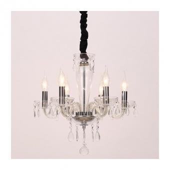 полилей tulia, clear+chrome+black, aca lighting, 6xE14, blk82046pcc