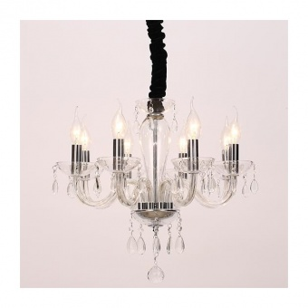 полилей tulia, clear+chrome+black, aca lighting, 8xE14, blk82048pcc