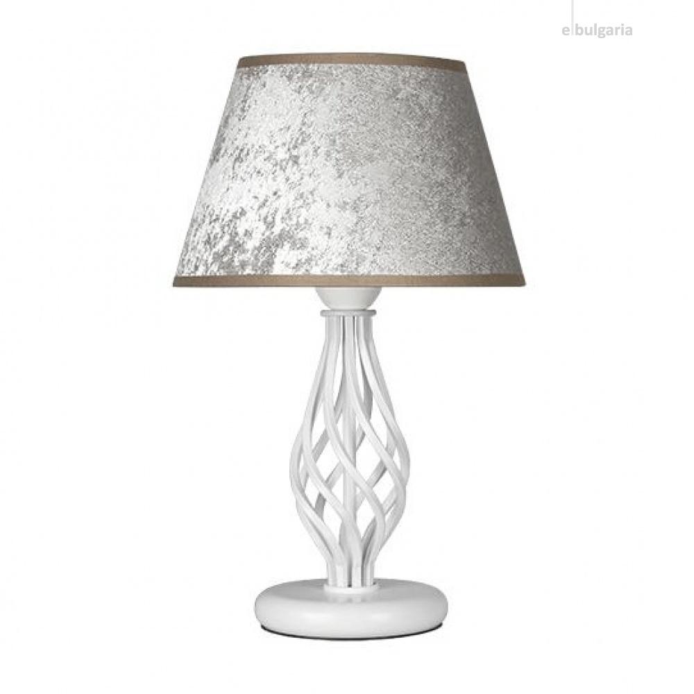 настолна лампа атлас, галата сребро/бял, sirius lights, 1xe27, 304543