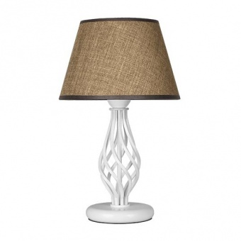 настолна лампа атлас, кафяв/бял, sirius lights, 1xe27, 304452