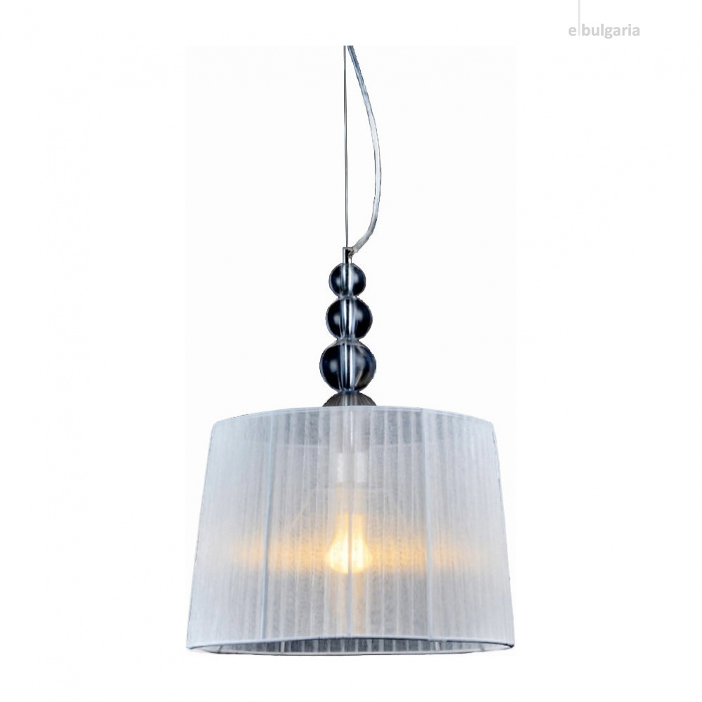 пендел olivia, chrome+white+clear, aca lighting, 1xE27, ad477215