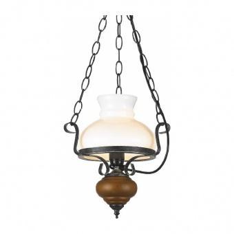 пендел chalet, black silver+brown+white, aca lighting, 1xE27, dla0411