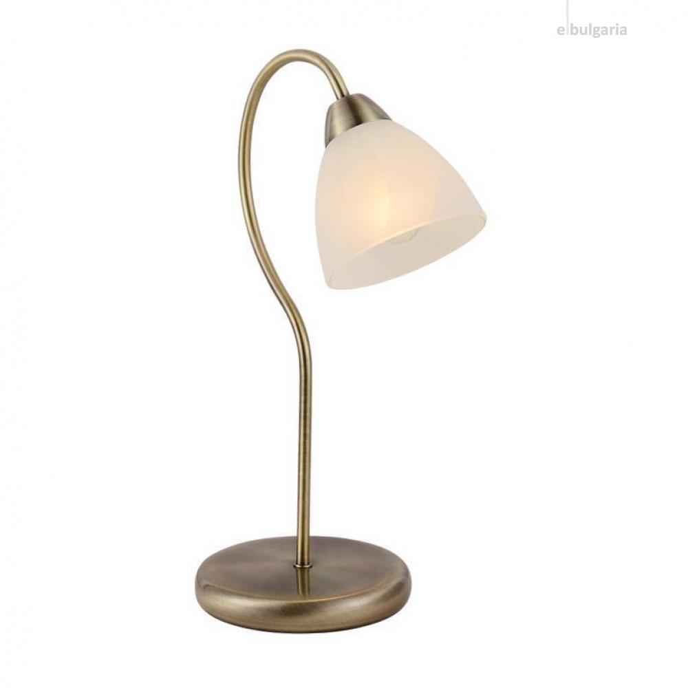 настолна лампа byron, bronze+white+sandblast, aca lighting, 1xE14, dlx7391tbr
