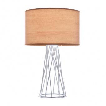 настолна лампа acacia, matt white+light wood shade, aca lighting, 1xE27, v35135tne
