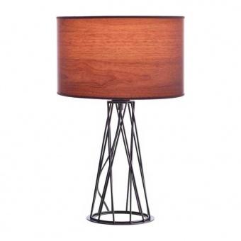 настолна лампа acacia, matt black+dark wood shade, aca lighting, 1xE27, v35135twt