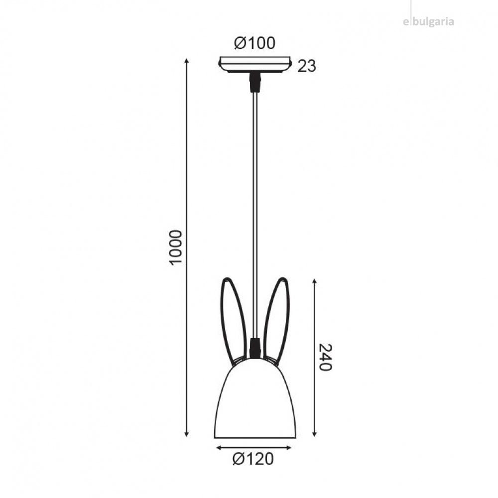 пендел bunny, pink, aca lighting, 1xE27, zm71p12p
