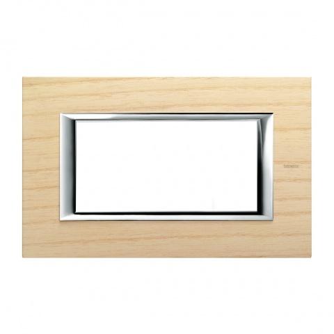 дървена четиримодулна рамка, ashwood, bticino, axolute, ha4804lfr