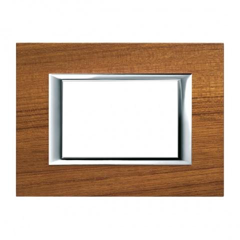 дървена тримодулна рамка, teak, bticino, axolute, ha4803ltk