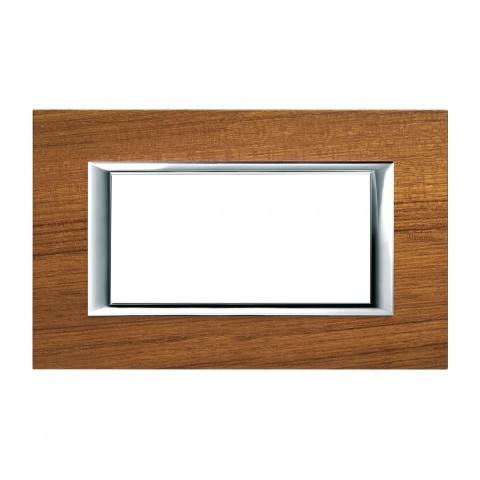 дървена четиримодулна рамка, teak, bticino, axolute, ha4804ltk
