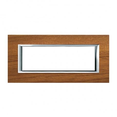 дървена шестмодулна рамка, teak, bticino, axolute, ha4806ltk