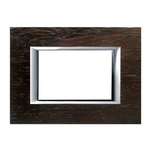 дървена тримодулна рамка, wenge, bticino, axolute, ha4803lwe