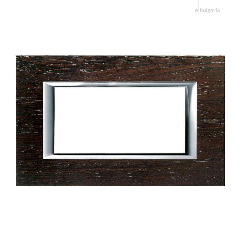 дървена четиримодулна  рамка, wenge, bticino, axolute, ha4804lwe