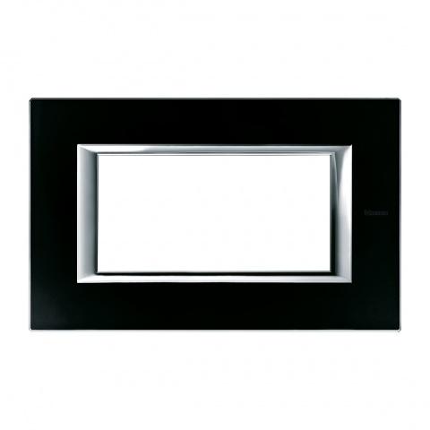 стъклена четиримодулна рамка, black glass, bticino, axolute, ha4804vnn