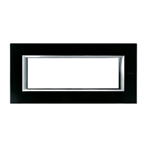 стъклена шестмодулна рамка, black glass, bticino, axolute, ha4806vnn