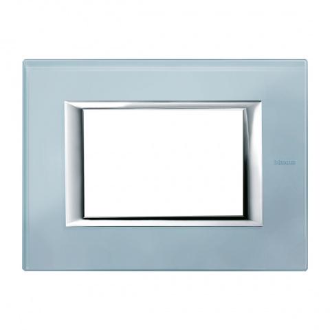 стъклена тримодулна рамка, blue glass, bticino, axolute, ha4803vzs