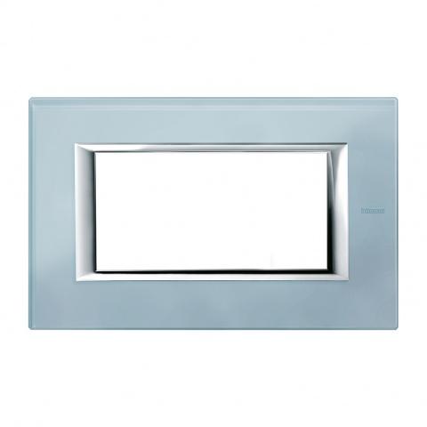 стъклена четиримодулна рамка, blue glass, bticino, axolute, ha4804vzs