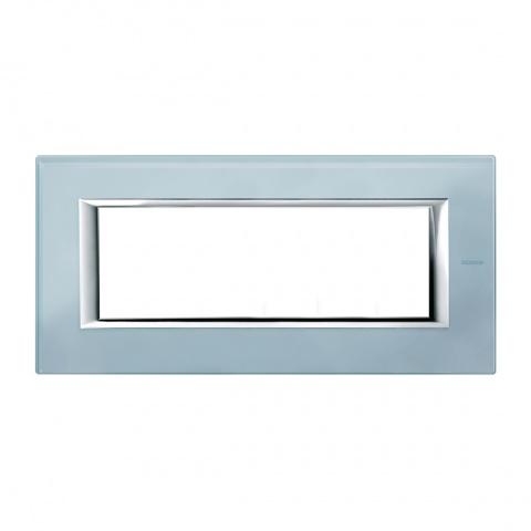 стъклена шестмодулна рамка, blue glass, bticino, axolute, ha4806vzs