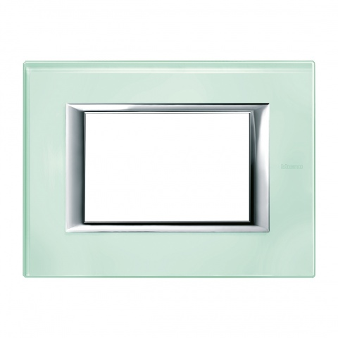 стъклена тримодулна рамка, kristall glass, bticino, axolute, ha4803vka