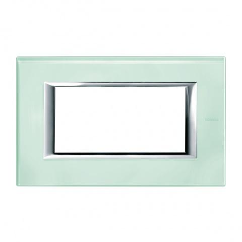 стъклена четиримодулна рамка, kristall glass, bticino, axolute, ha4804vka