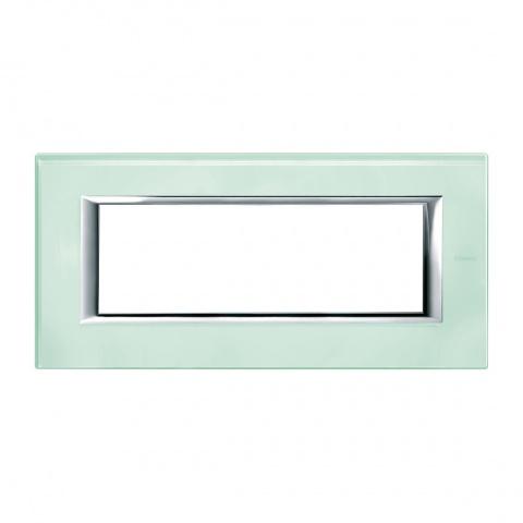 стъклена шестмодулна рамка, kristall glass, bticino, axolute, ha4806vka