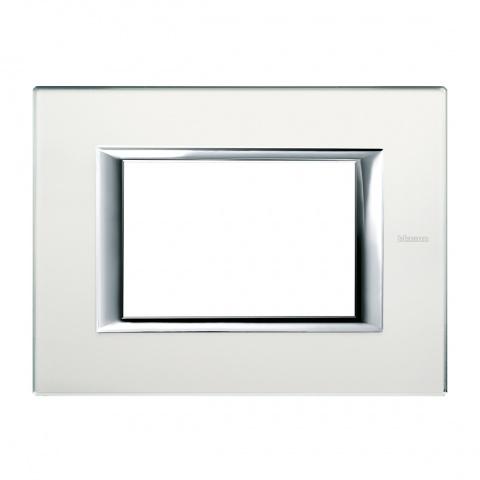 стъклена тримодулна рамка, mirror glass, bticino, axolute, ha4803vsa