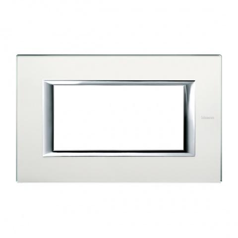 стъклена четиримодулна рамка, mirror glass, bticino, axolute, ha4804vsa