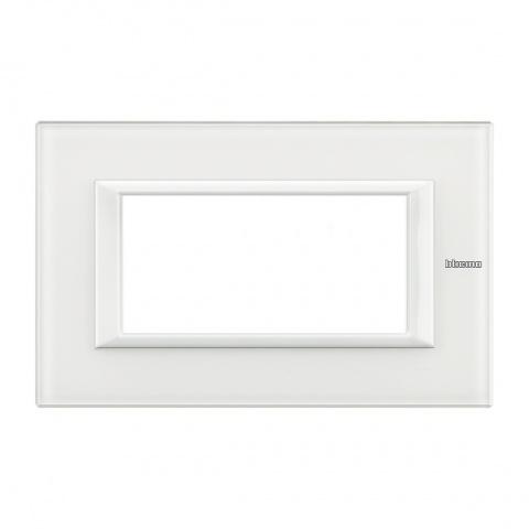 стъклена четиримодулна рамка, white glass, bticino, axolute, ha4804vbb